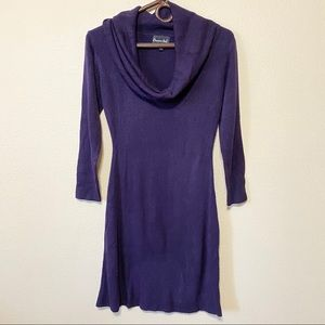 Connected Purple Sweater Dress Cowl Neck S